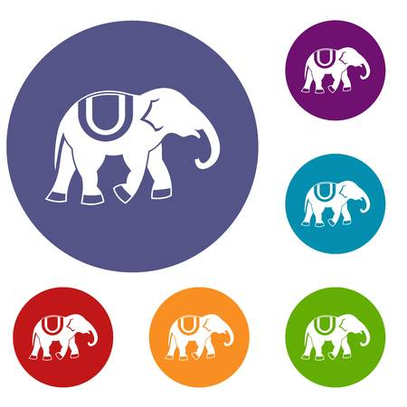 Elephant icons set in flat circle reb, blue and green color for web