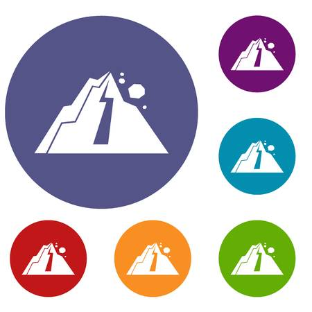 ridge: Rockfall icons set in flat circle reb, blue and green color for web