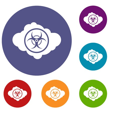Cloud With Biohazard Symbol Icons Set In Flat Circle Reb Blue