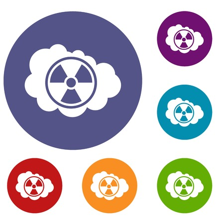radioactive sign: Cloud and radioactive sign icons set in flat circle reb, blue and green color for web Illustration