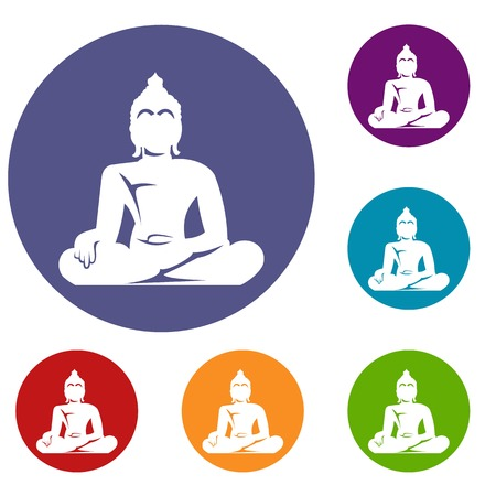 Statue of Buddha sitting in lotus pose icons set in flat circle reb, blue and green color for web