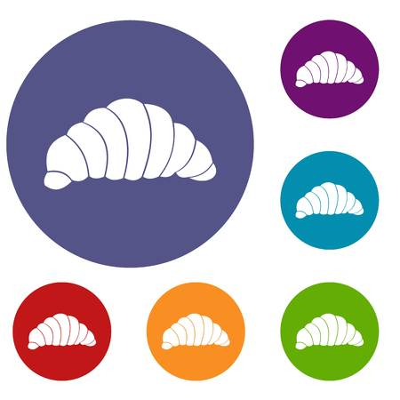 Croissant icons set in flat circle reb, blue and green color for web