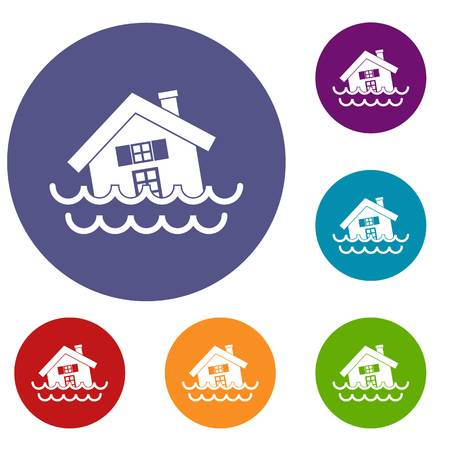 flooding: House sinking in a water icons set in flat circle reb, blue and green color for web
