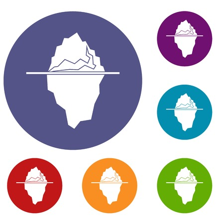Iceberg icons set in flat circle reb, blue and green color for web