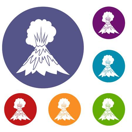 Volcano erupting icons set in flat circle reb, blue and green color for web