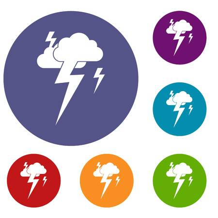 Cloud and lightning icons set in flat circle reb, blue and green color for web Illustration