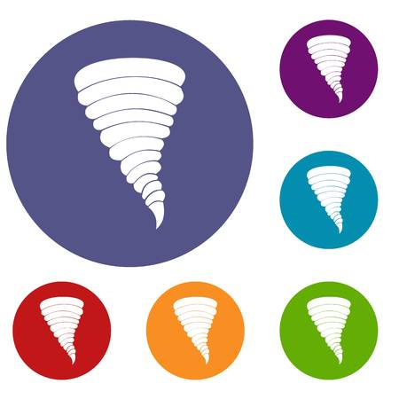 Tornado icons set in flat circle reb, blue and green color for web