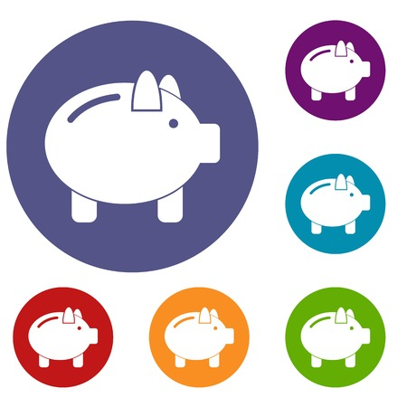 Piggy bank icons set in flat circle reb, blue and green color for web 일러스트