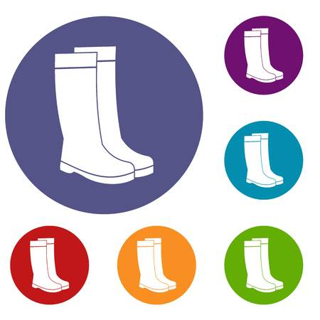 Rubber boots icons set in flat circle reb, blue and green color for web