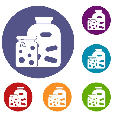 Jars with pickled vegetables and jam icons set in flat circle reb, blue and green color for web 向量圖像