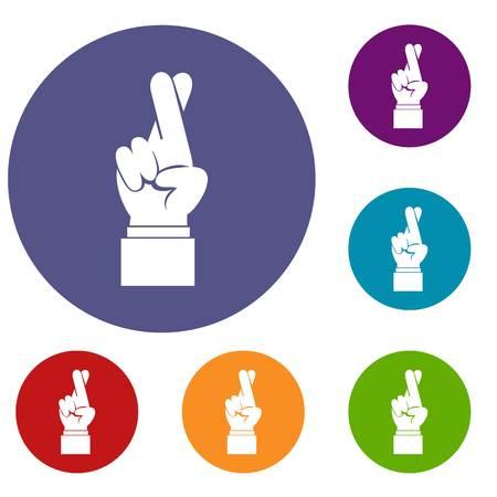Doigts, croisé, icônes, ensemble, plat, cercle, reb, bleu, vert, couleur, toile Banque d'images - 81595352