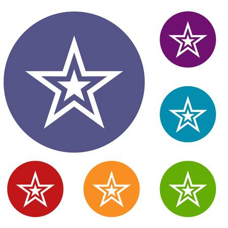 Star icons set in flat circle reb, blue and green color for web Illustration