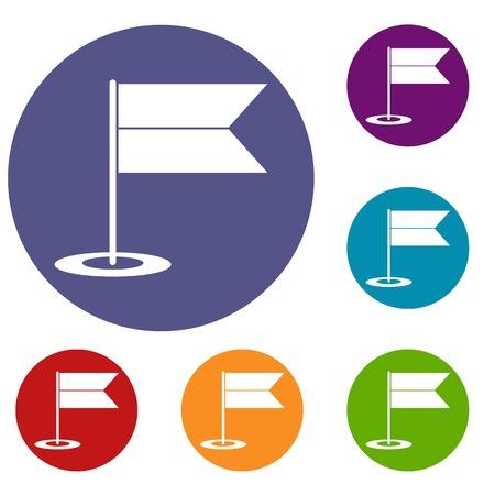 Icônes de drapeau de localisation définies en couleur de cercle plat reb, bleu et vert pour le web