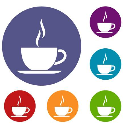 Cup of hot drink icons set in flat circle reb, blue and green color for web Vectores