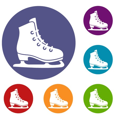 Skates icons set in flat circle reb, blue and green color for web