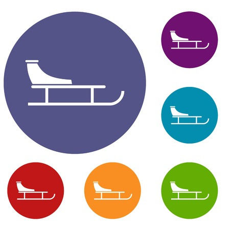 Sled icons set in flat circle reb, blue and green color for web