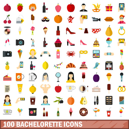 stripper: 100 bachelorette icons set in flat style for any design vector illustration