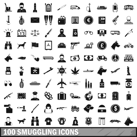 knuckles: 100 smuggling  icons set in simple style for any design vector illustration