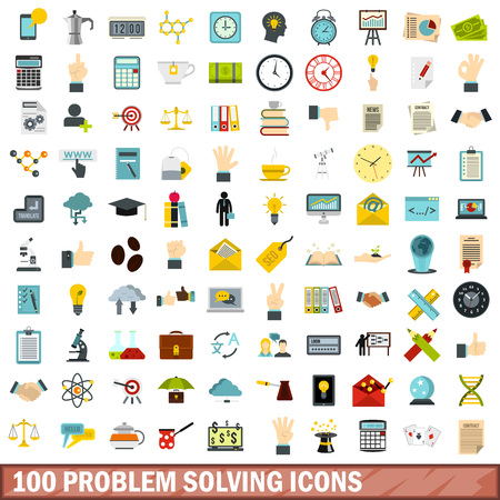 solved: 100 problem solving icons set, flat style