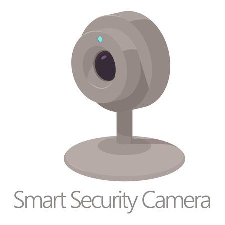 Smart security camera icon, cartoon style