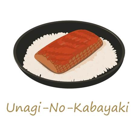 Unagi kabayaki icon, cartoon style Illustration