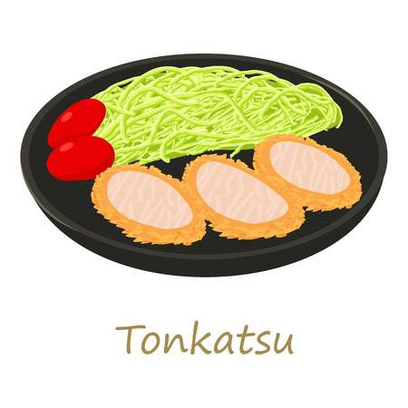 Tonkatsu icon, cartoon style