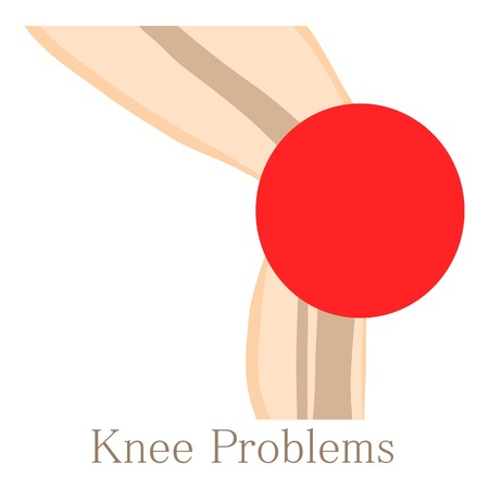 rupture: Knee problem icon, cartoon style Illustration