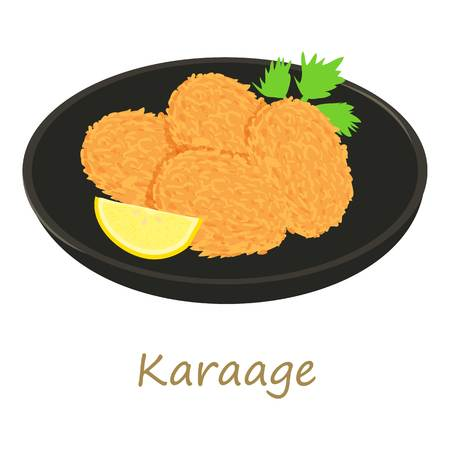 fried: Karaage icon, cartoon style Illustration