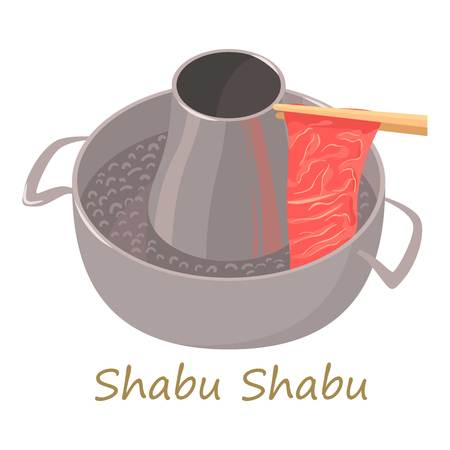 Shabu shabu icon, cartoon style