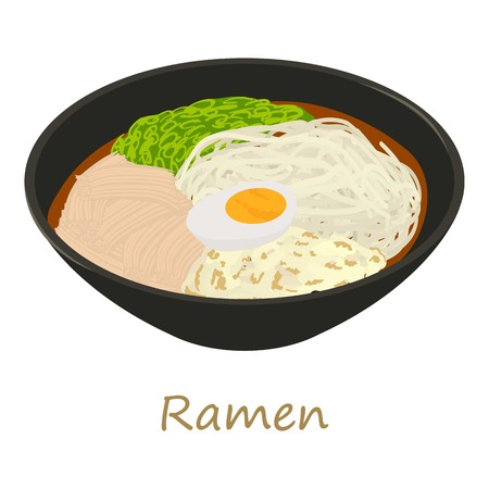 Ramen icon. Cartoon illustration of ramen vector icon for web isolated on white background.