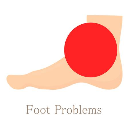 Foot problem icon, cartoon style Illustration