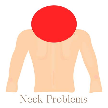 wreck: Neck problem icon, cartoon style
