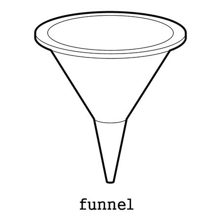 filtering: Funnel, kitchen or lab equipment icon outline illustration. Illustration