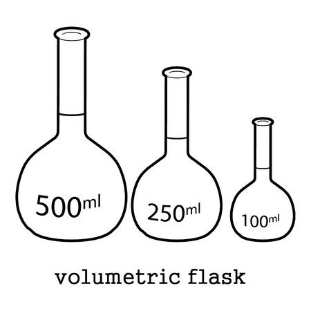 Conjunto de matraz aforado, ilustración de esquema de icono de equipo de laboratorio.