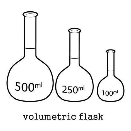 Satz der volumetrischen Flasche, Laborausrüstungsikonen-Entwurfsillustration. Standard-Bild - 81666551