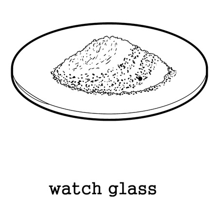 inspector: Watch glass round laboratory equipment icon outline illustration.