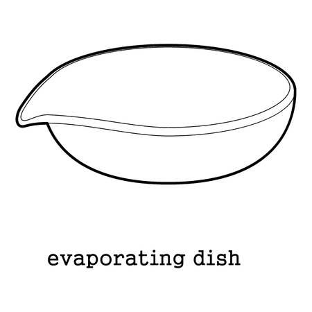 An evaporating dish icon outline illustration. Illustration