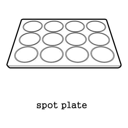 recess: Spot plate laboratory tools icon outline illustration. Illustration