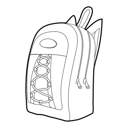 haversack: School backpack icon outline