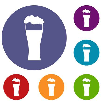 beers: Glass of beer icons set in flat circle reb, blue and green color for web