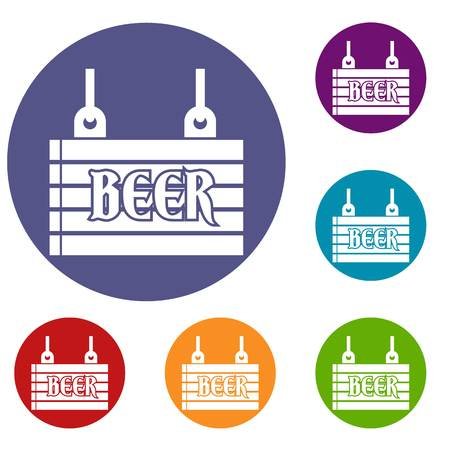 Street signboard of beer icons set in flat circle reb, blue and green color for web