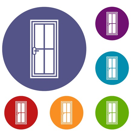 Glass door icons set in flat circle reb, blue and green color for web Illustration