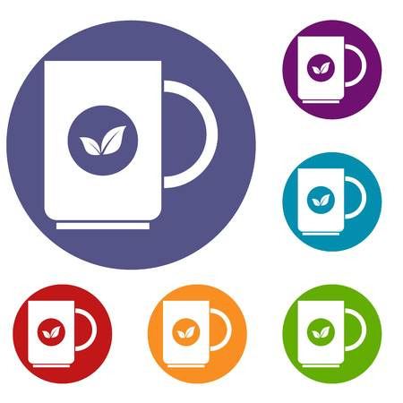 ent: Cup of tea icons set in flat circle reb, blue and green color for web Illustration