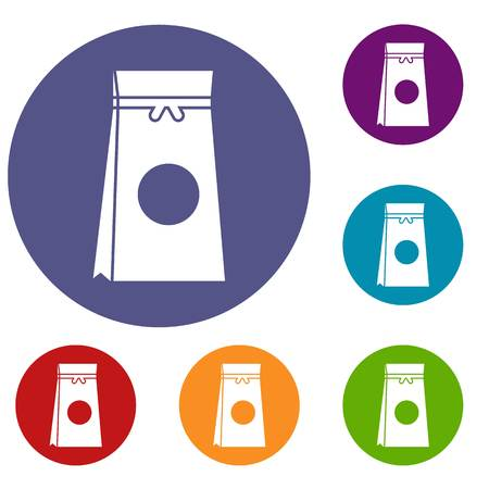 craft product: Tea packed in a paper bag icons set in flat circle reb, blue and green color for web