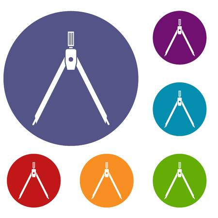 Drawing compass icons set in flat circle reb, blue and green color for web Illustration