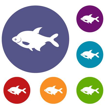 seawater: Fish icons set in flat circle reb, blue and green color for web