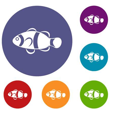 Cute clown fish icons set in flat circle reb, blue and green color for web Illustration