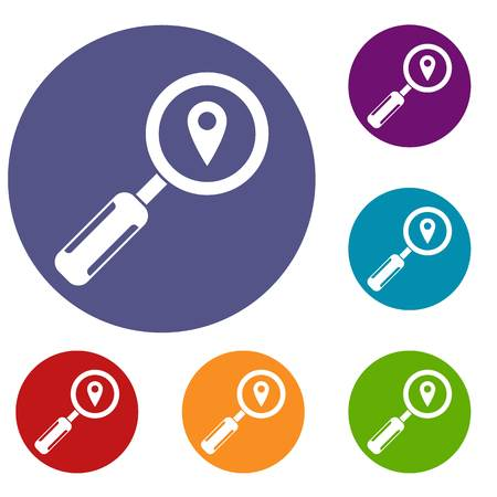 Magnifying glass and map location icons set in flat circle reb, blue and green color for web