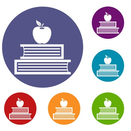 reader: Books and apple icons set in flat circle reb, blue and green color for web Illustration