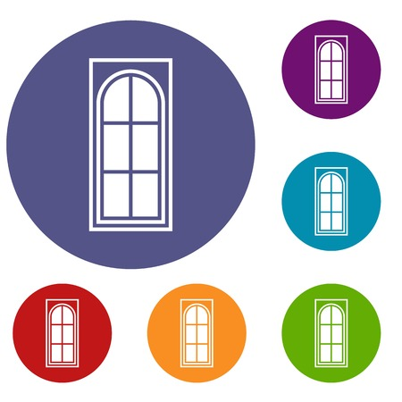 lattice frame: Wooden door with glass icons set in flat circle reb, blue and green color for web Illustration